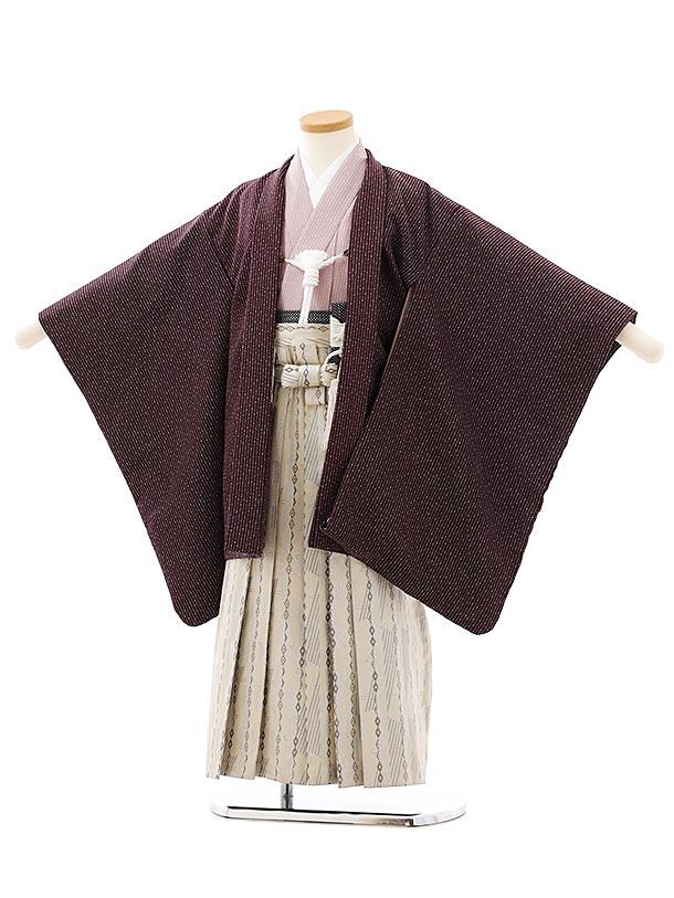 七五三レンタル(5歳男袴)F539パープル細ストライプxアイボリー袴