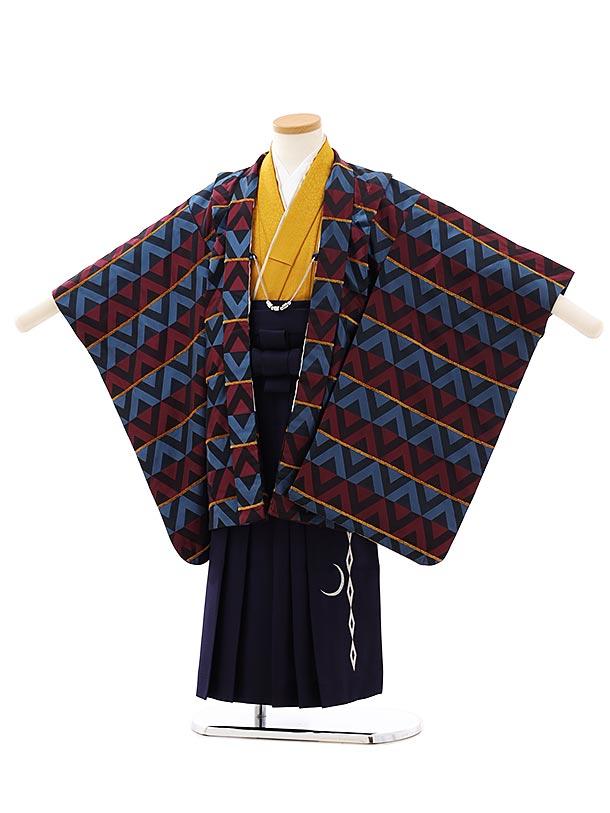 七五三レンタル(5歳男袴)F541ブルーエンジ変わり柄x紺袴