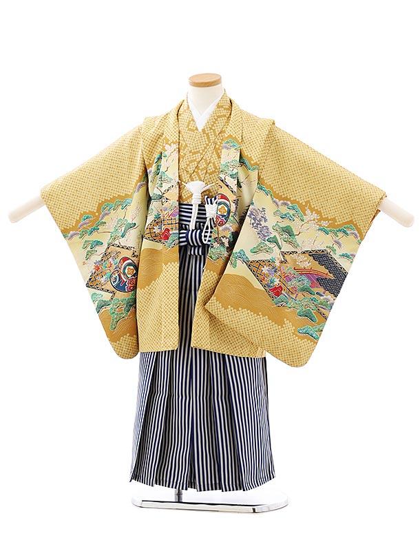 七五三レンタル(5歳男袴)F542からし色疋田柄かぶとx紺縞袴