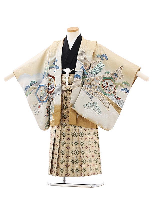 七五三レンタル(5歳男袴)F544ベージュのしに鷹xベージュ袴