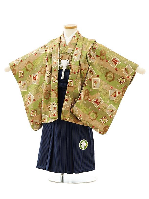 七五三レンタル(3歳男袴)F549ベージュグリーン小紋おもちゃx紺ストライプ袴