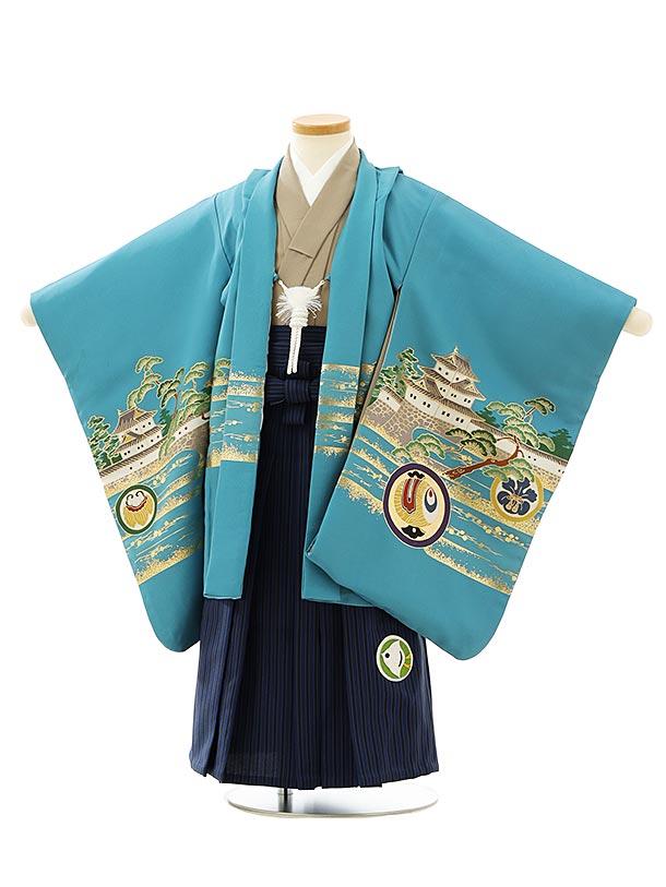七五三レンタル(3歳男袴)F550ブルーグリーンかぶとx紺ストライプ袴