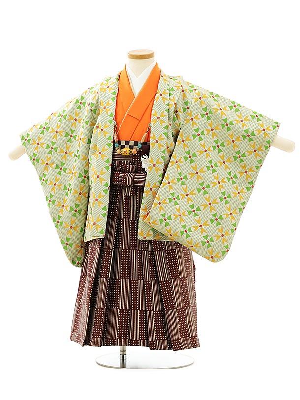 七五三レンタル(3歳男袴)F554ベージュグリーン変わり柄xあずき色袴