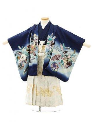 七五三レンタル(3歳男袴)F559紺地花にかぶとx白亀甲袴