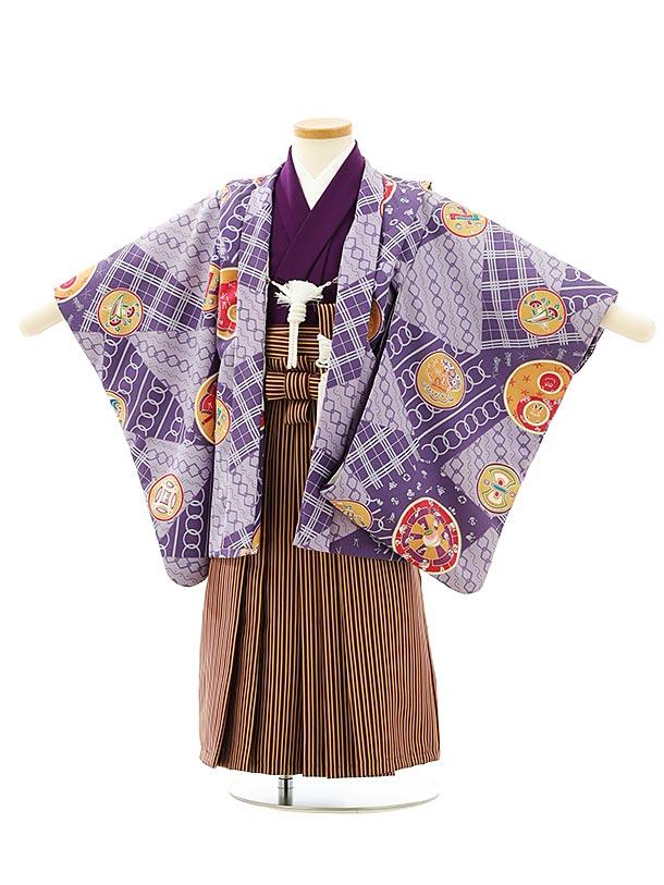 七五三レンタル(3歳男袴)F560パープル丸紋x茶色ストライプ袴