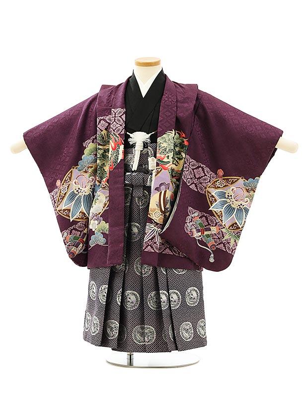 七五三レンタル(3歳男袴)F561パープル龍xパープル黒袴