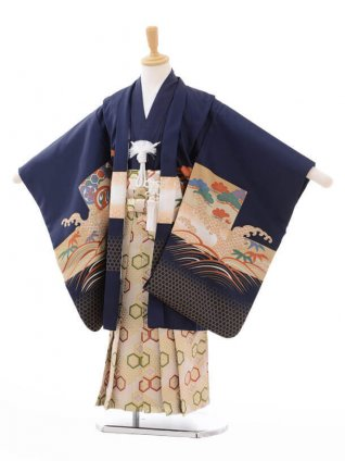 七五三(5歳男袴)G043紺地鼓に鷹×ベージュ袴