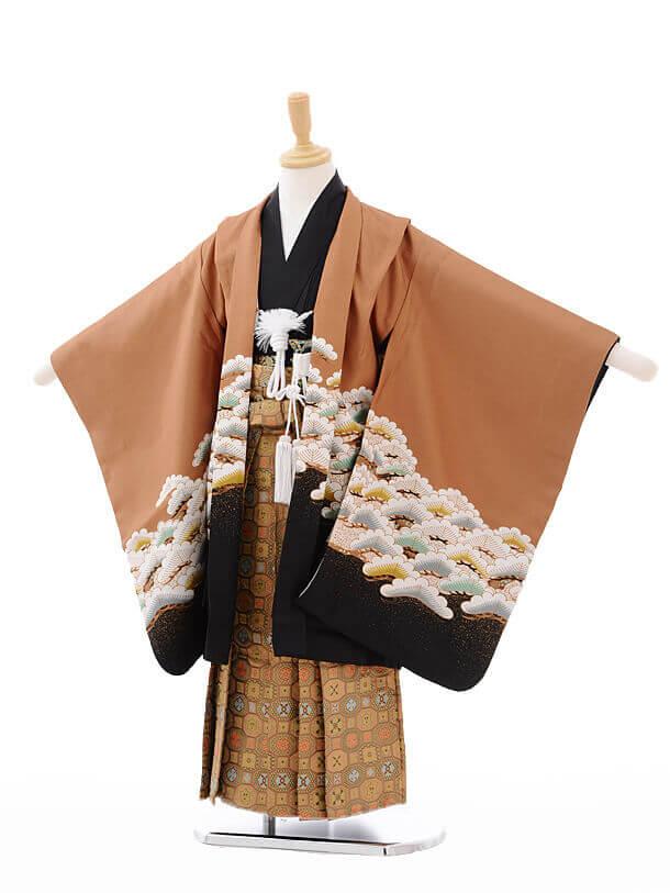 七五三(5歳男袴)G047茶色 松に鷹