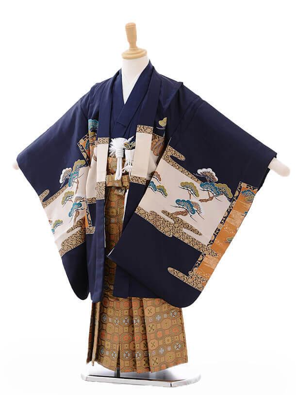 七五三(5歳男袴)G048紺 地城に鷹