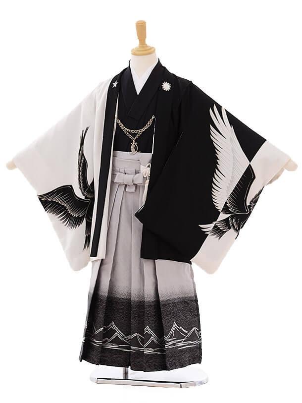 七五三(5歳男袴)I019 Usuke kids 白黒 鷹