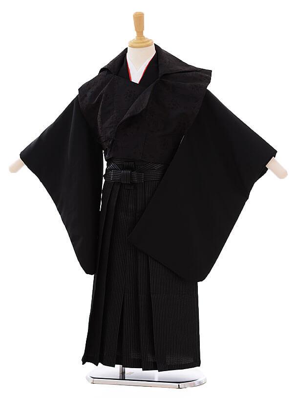 七五三(5歳男袴)I021 黒地 変わり袴