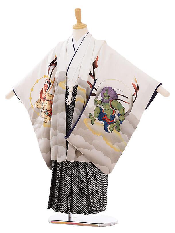 七五三(5歳男袴)I025 白地 風神雷神