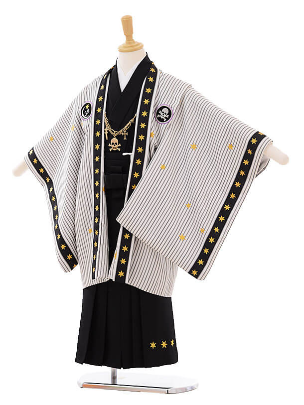 七五三(5歳男袴)I033 JAPANSTYLE 白地 ストライプ星