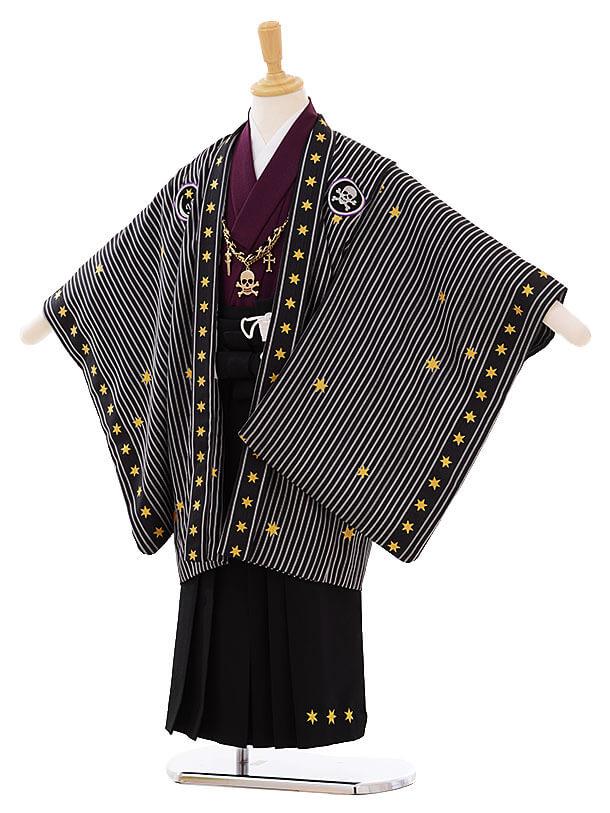 七五三(5歳男袴)I034 JAPANSTYLE 黒地 ストライプ星