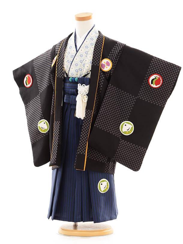 七五三(3歳男袴)I041 ぷちぷり 黒×水色