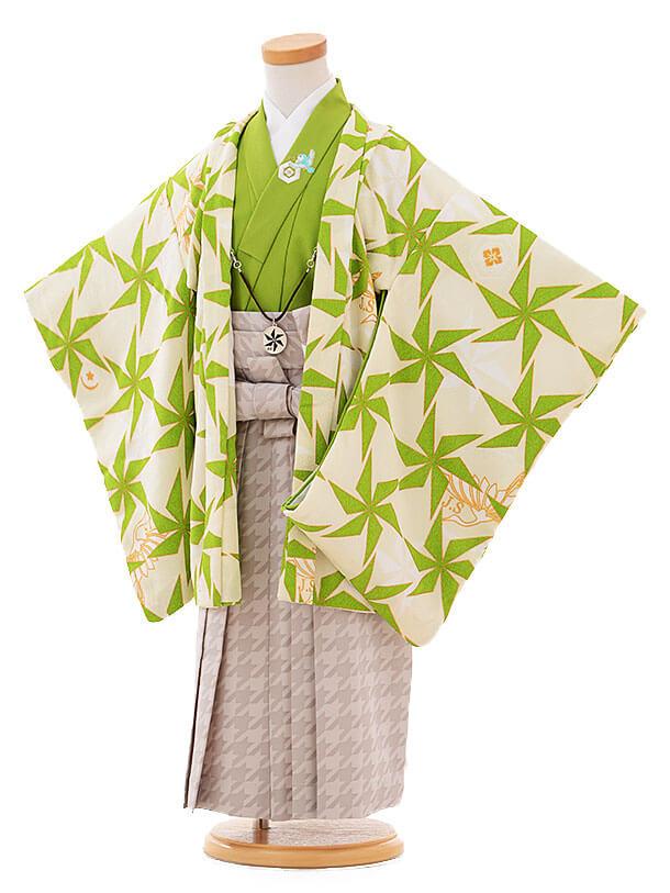 七五三(3歳男袴)I049 JAPANSTYLE クリーム地 グリーン風車