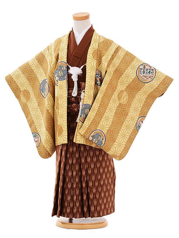 七五三(3歳男袴)I050 ベージュ地 麻の葉 丸紋