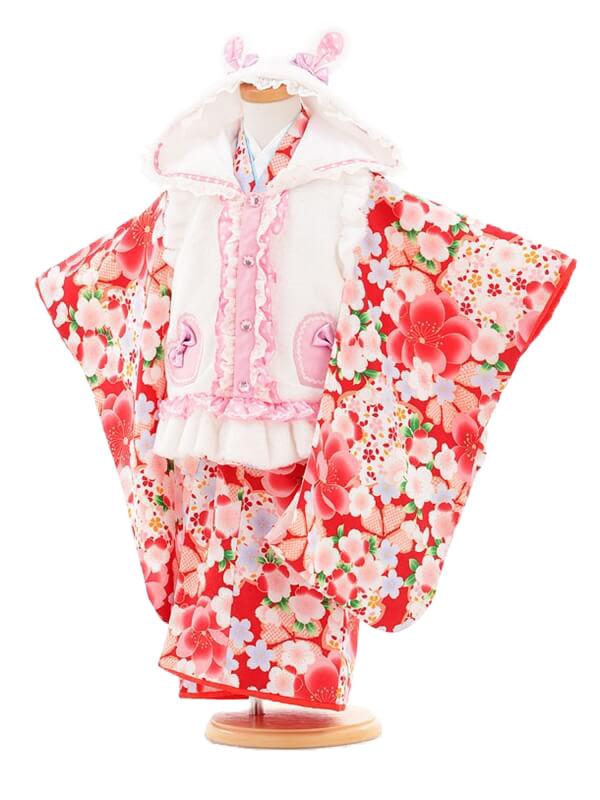753レンタル(3歳女被布)0388うさ耳白×赤桜