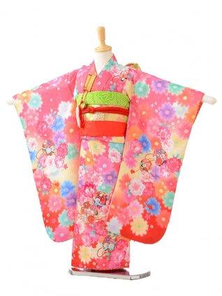 753レンタル(5歳女結び帯)0603濃ピンク地花