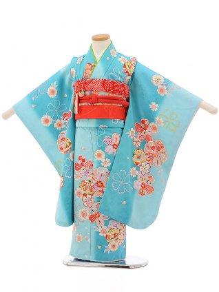 七五三レンタル(5歳女の子結び帯)0613 水色地 桜まり