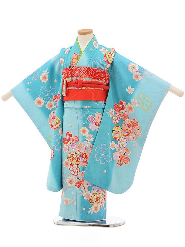 七五三(5歳女児結び帯)0613 水色地 桜まり