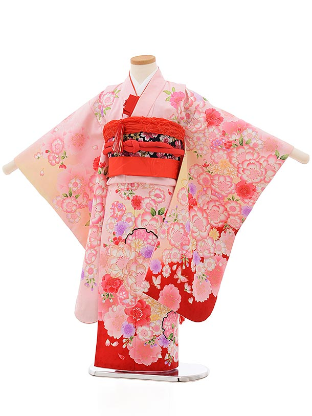 七五三(5歳女児結び帯)0614 うすピンク地 裾赤 花