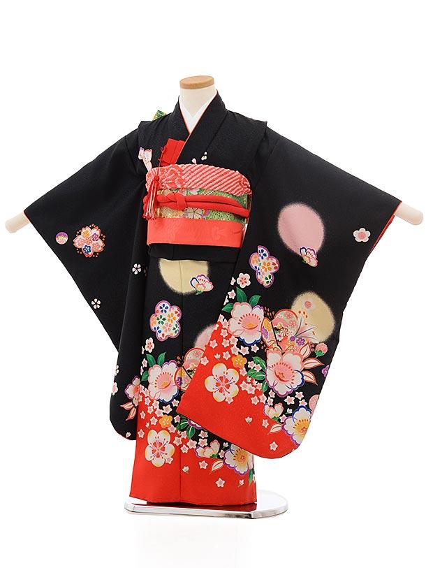 七五三(5歳女児結び帯)0615 黒地 裾赤 花