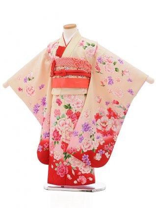 七五三レンタル(5歳女の子結び帯)0616 クリーム地 裾赤 花