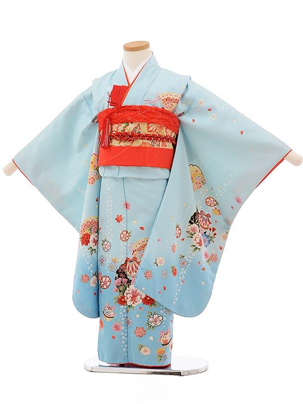 七五三(5歳女児結び帯)0617 水色地 まり 花