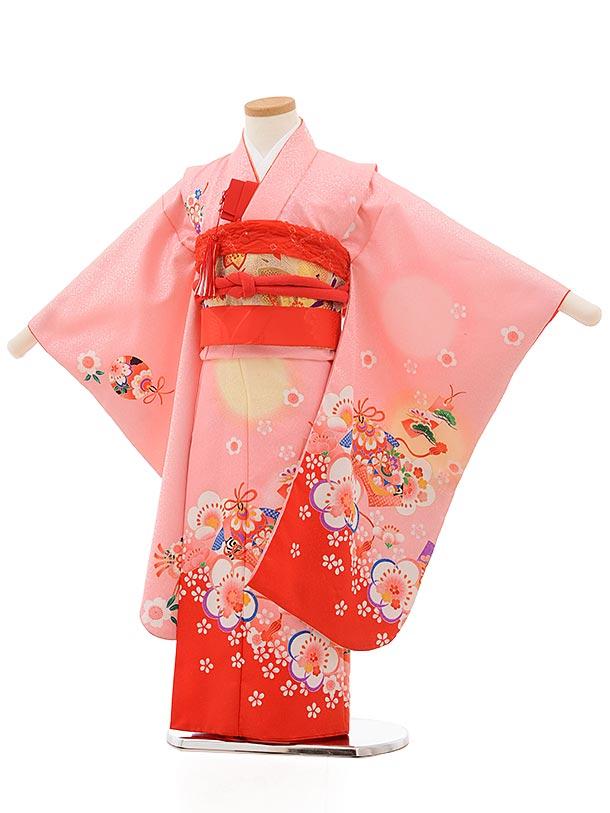 七五三(5歳女児結び帯)0618 ピンク地 裾赤 梅
