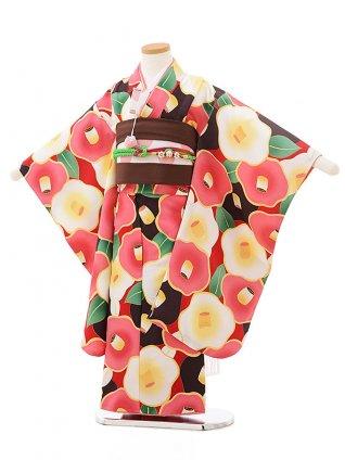 七五三レンタル(5歳女の子結び帯)0620 花わらべ 赤地茶ピンク椿