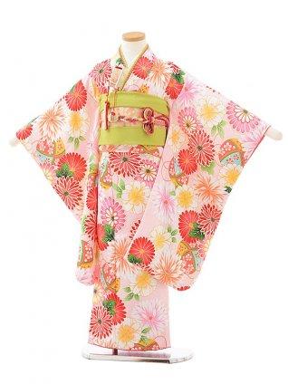 七五三レンタル(5歳女の子結び帯)0624 式部浪漫 ピンク地 花まり