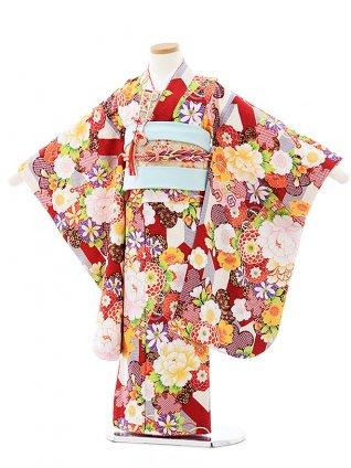七五三レンタル(5歳女の子結び帯)0625 式部浪漫 赤 矢羽根花