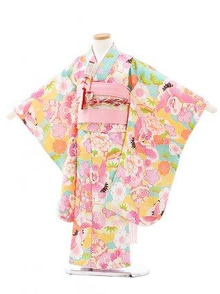 七五三レンタル(5歳女の子結び帯)0626 式部浪漫 ミントグリーン雲取り鶴
