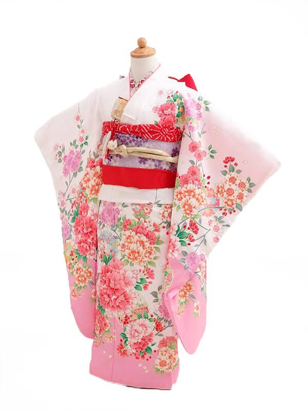 753レンタル(7歳女結び帯)0718白地裾ピンク牡