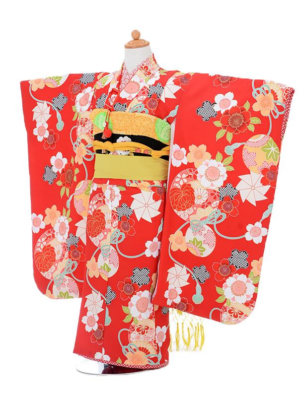 753レンタル(7歳女結び帯)0752ぷちぷり赤桜