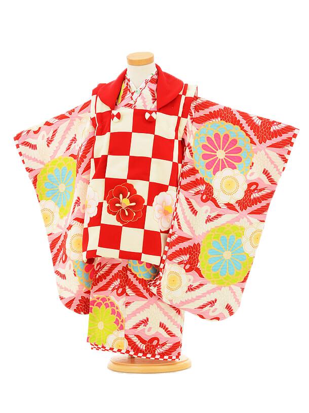 七五三レンタル(3歳女の子被布)3143ジャパンスタイル赤市松模
