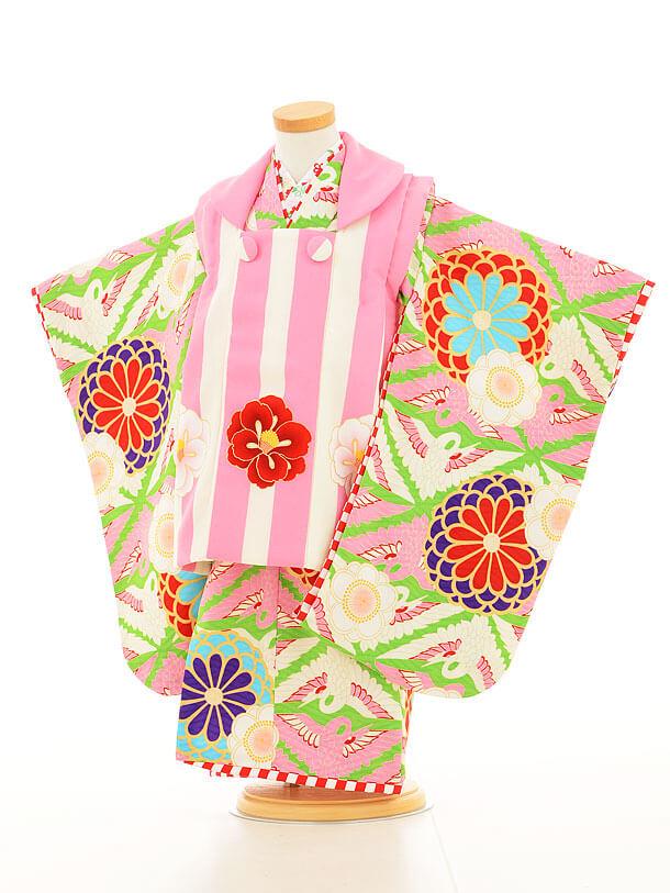 七五三レンタル(3歳女の子被布)3144ジャパンスタイルピンク縞と