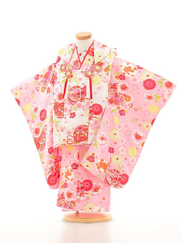 七五三レンタル(3歳女の子被布)3146白×ピンク花まり