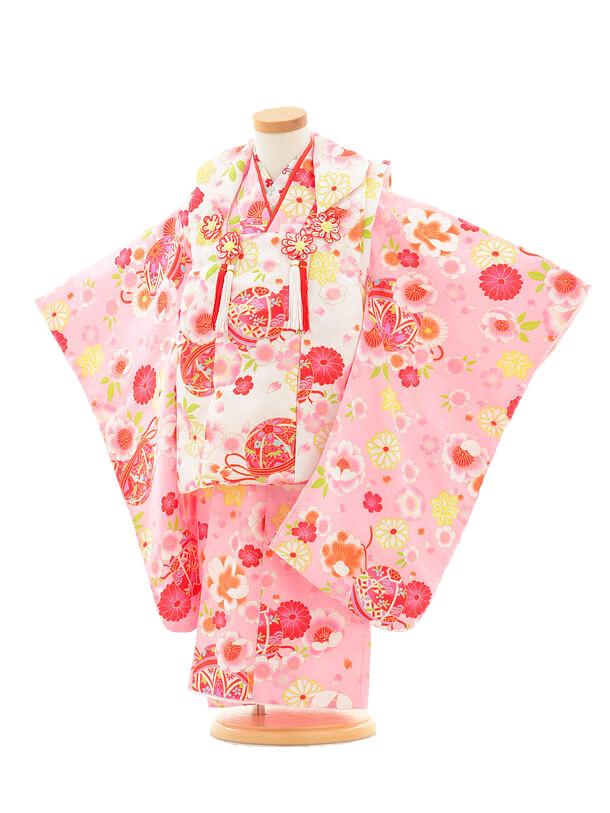 七五三レンタル(3歳女の子被布)3147ピンク花まり