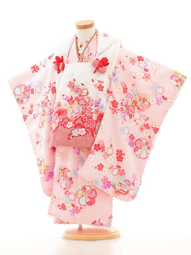 七五三レンタル(3歳女の子被布)3148花うさぎ白×ピンク