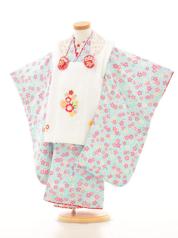 七五三レンタル(3歳女の子被布)3155白×水色小花