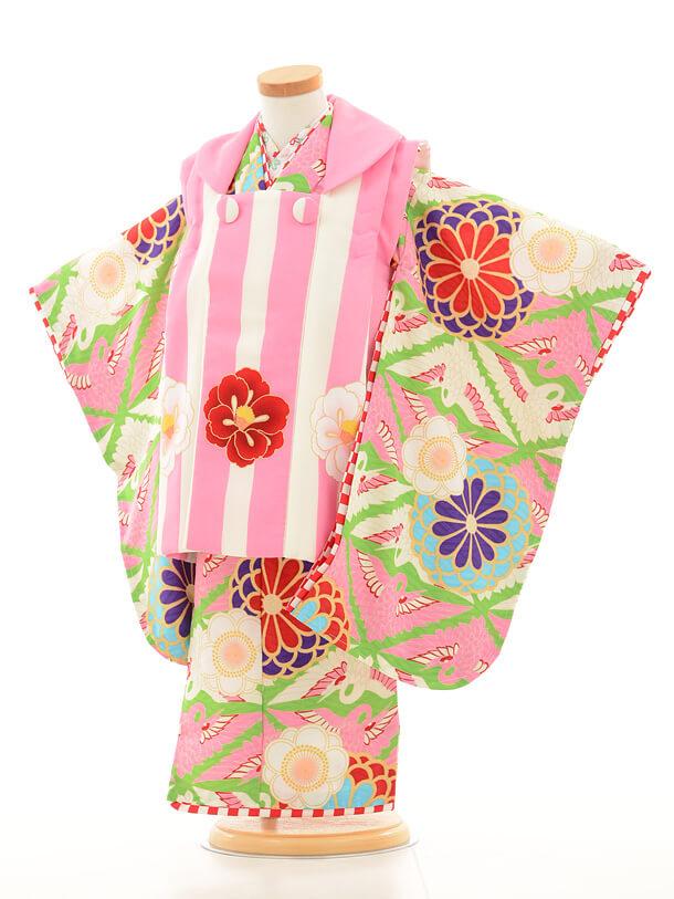 七五三レンタル(3歳女の子被布)3160ジャパンスタイルピンク縞と