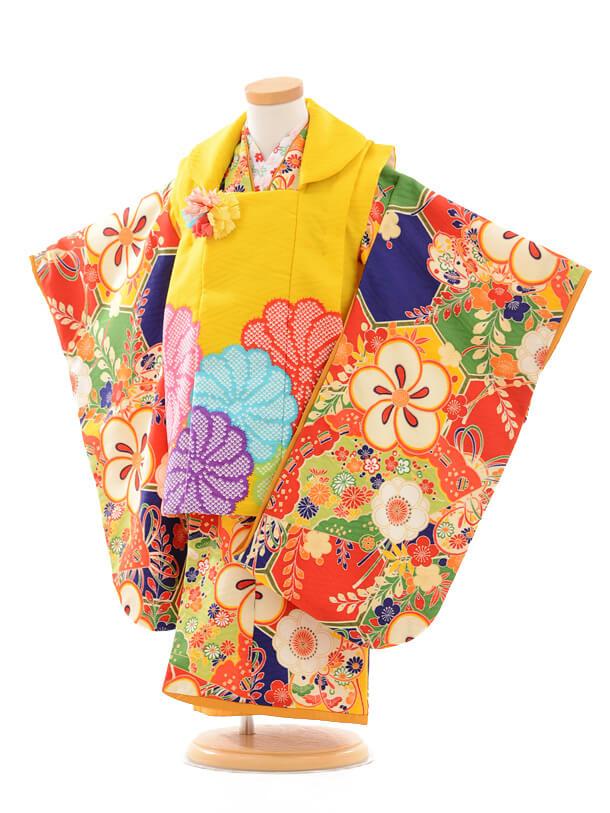 七五三レンタル(3歳被布)3173九重黄色疋田菊