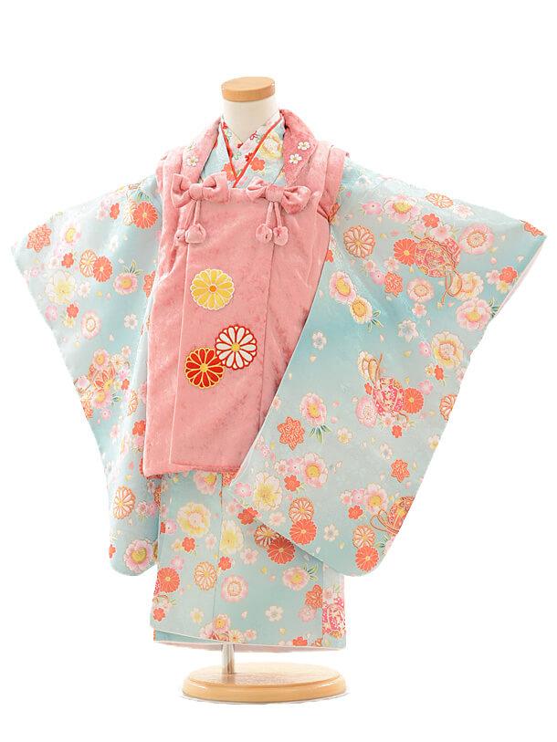 七五三レンタル(3歳女の子被布)3187ベルベットピンク×水色