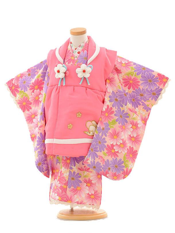 七五三レンタル(3歳女の子被布)3188ピンク×ピンクパープル小