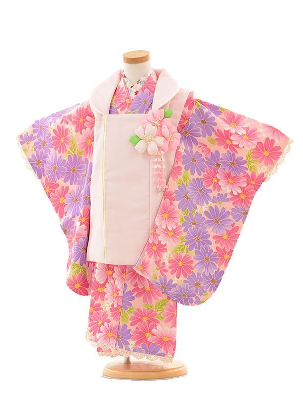 七五三レンタル(3歳女の子被布)3192ピンクパープル小花