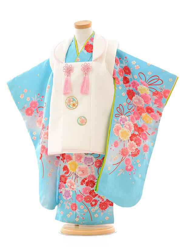 七五三(3歳女被布)3194 白×水色花
