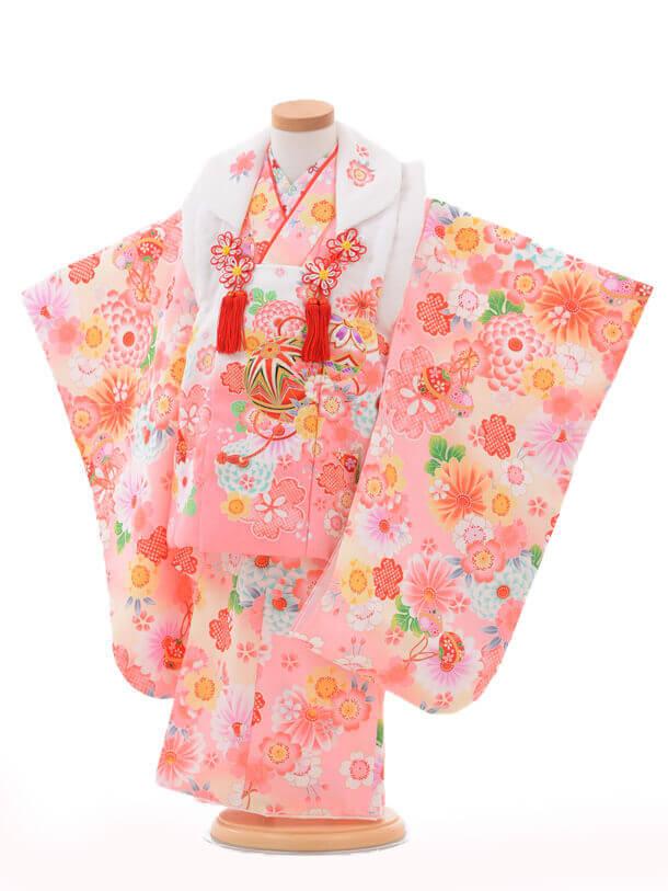 七五三(3歳女被布)3199白ピンクぼかし×ピンク花