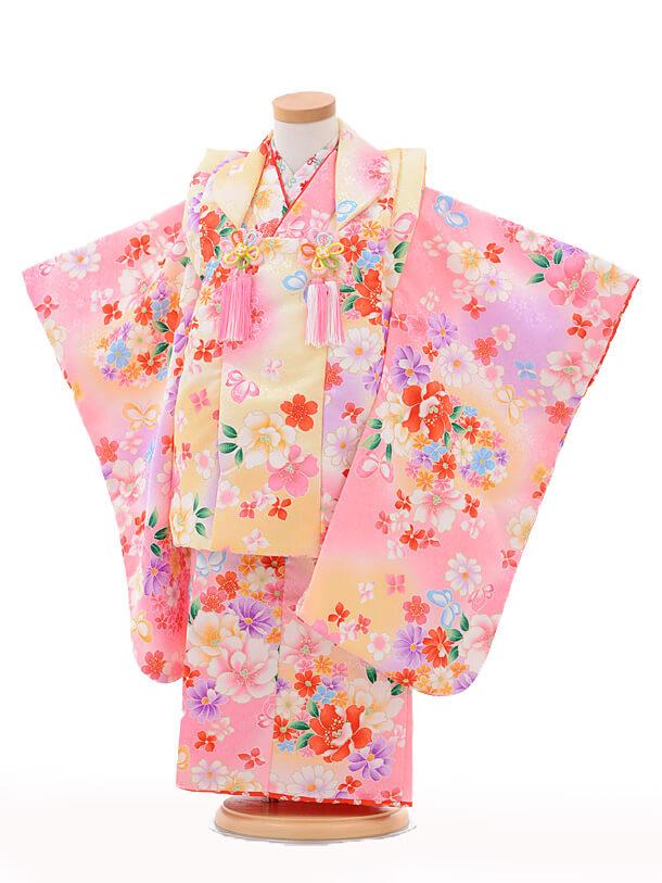 七五三(3歳女被布)3202maomao黄色ぼかし×ピンク小花